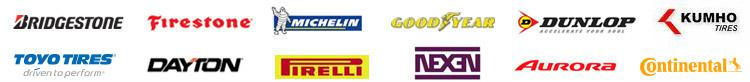 We proudly carry products from Bridgestone, Firestone, Dayton, Goodyear, Dunlop, Kumho, Michelin®, Pirelli, Toyo, Nexen, Aurora, and Continental.