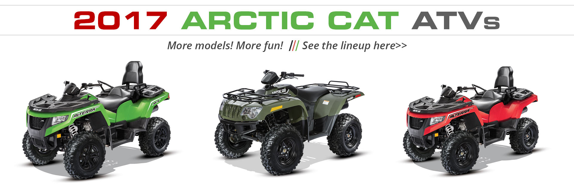 2017 Arctic Cat ATVs: Click here to view the models.