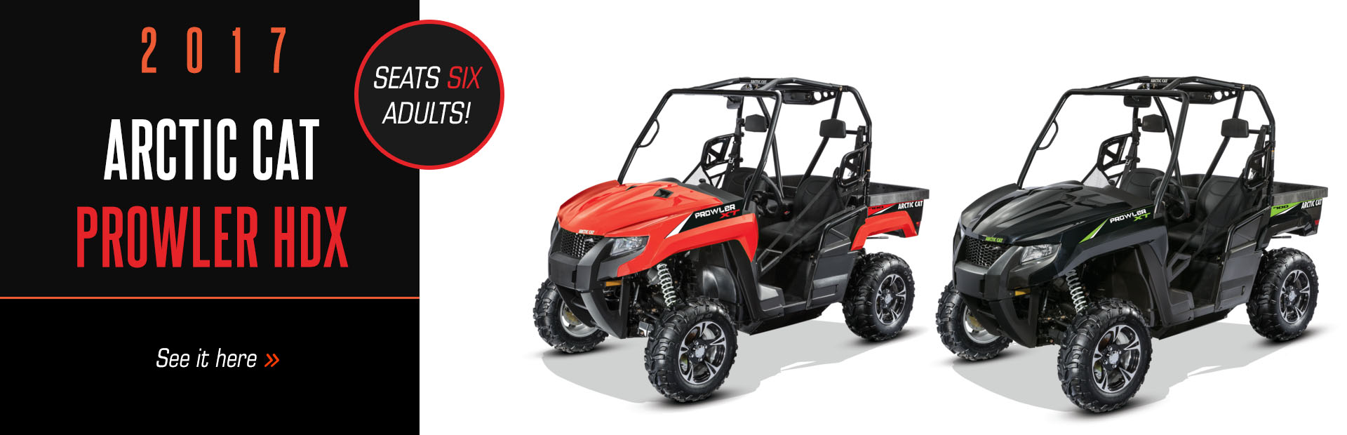 The 2017 Arctic Cat Prowler HDX seats six adults! Click here to see our selection.
