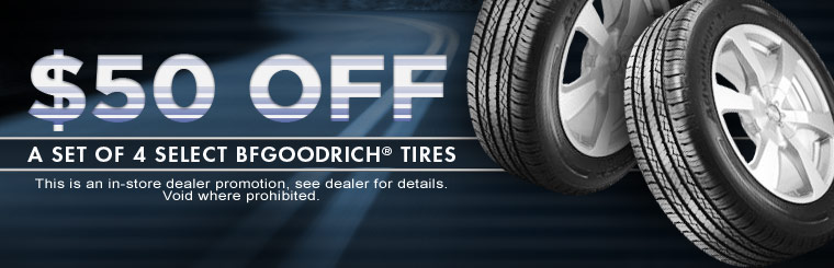 Get $50 off a set of four select BFGoodrich® tires! Click here for the coupon.