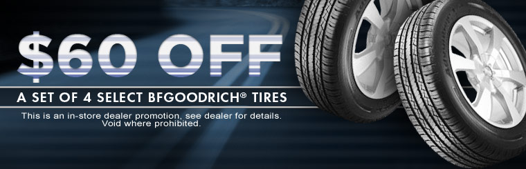 Get $60 off a set of four select BFGoodrich® tires! Click here for the coupon.