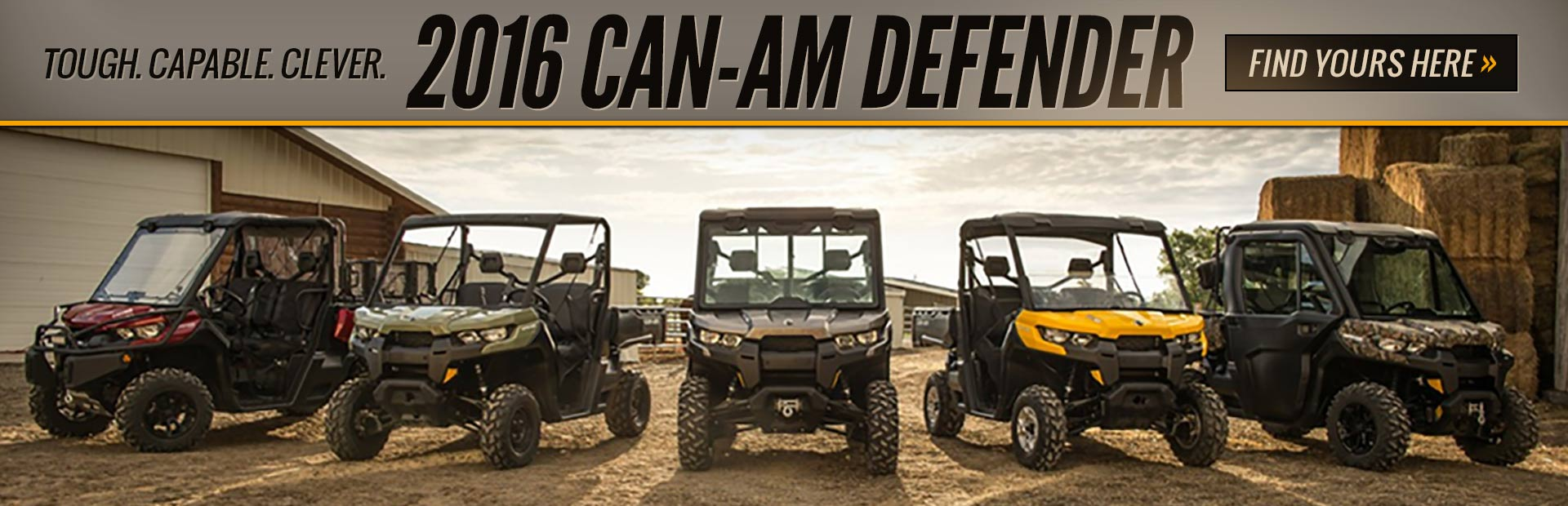 2016 Can-Am Defender Side x Sides: Click here to view the models.
