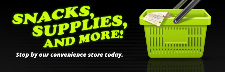 Stop by our convenience store for snacks, supplies, and more!