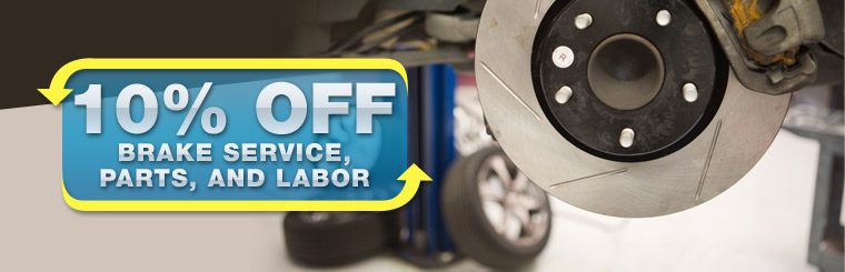 Take 10% off brake service, parts, and labor. Click here for a coupon.