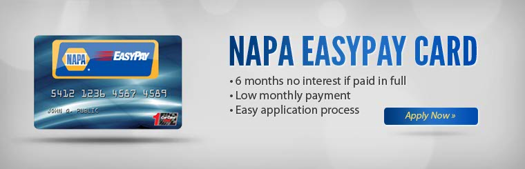 NAPA EasyPay Card: Click here to apply online.