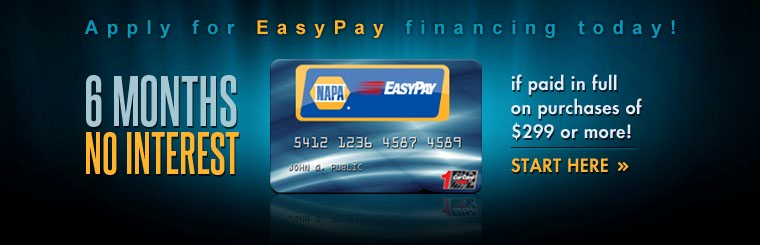 NAPA EasyPay Financing: Click here to apply online.