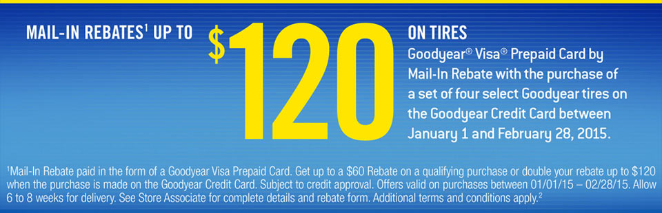 Goodyear $120 Mail-In Rebate: Contact us for details.
