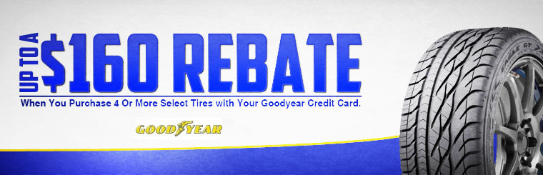 Get up to a $160 rebate when you purchase 4 or more select tires with your Goodyear Credit  Card!