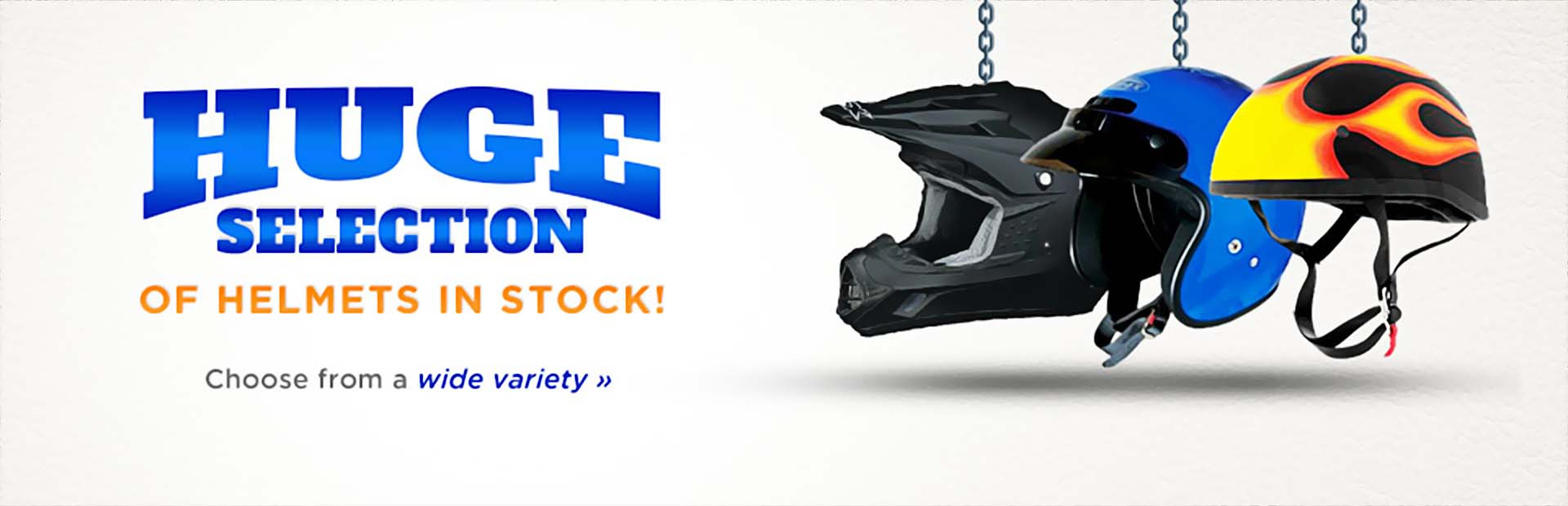 We have a huge selection of helmets in stock!