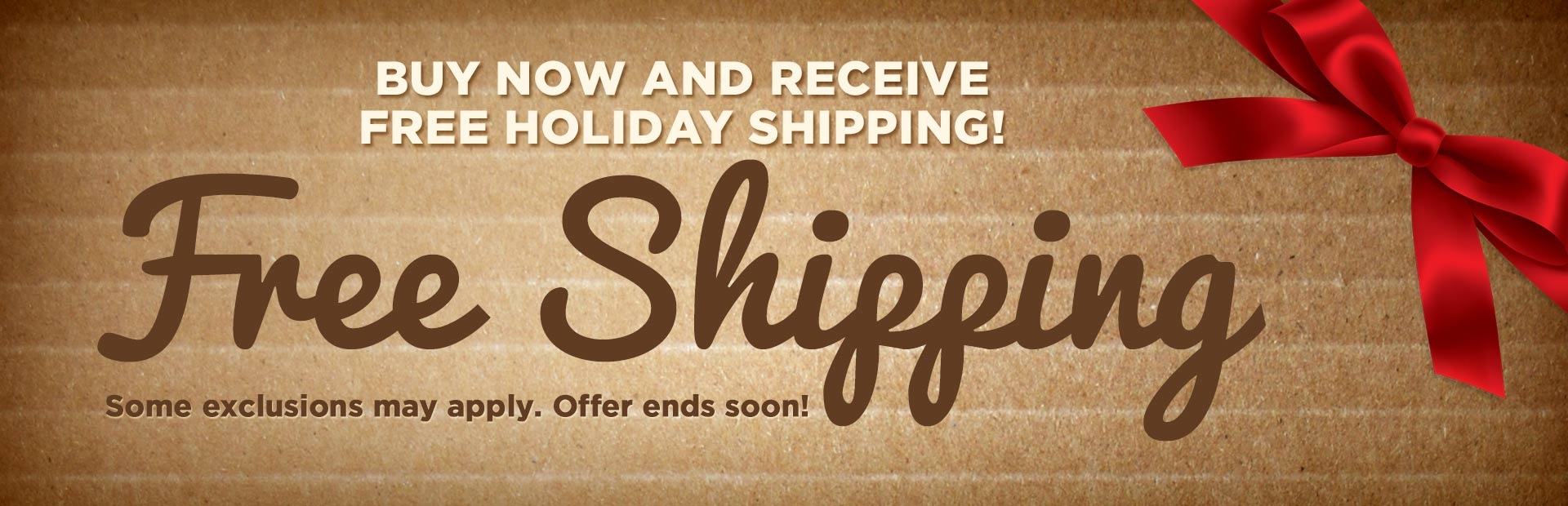 Buy now and receive free holiday shipping! Click here to shop online.