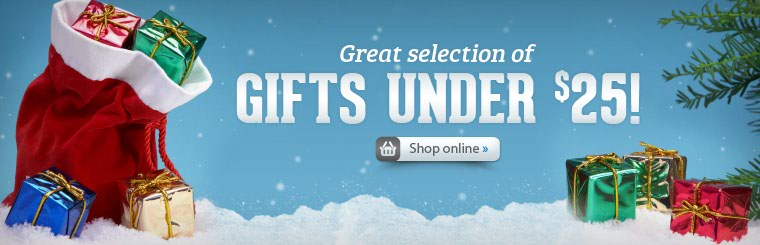 We have a great selection of gifts under $25! Click here to shop online.