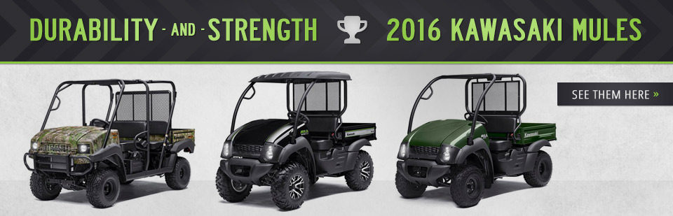2016 Kawasaki Mules: Click here to view the models.