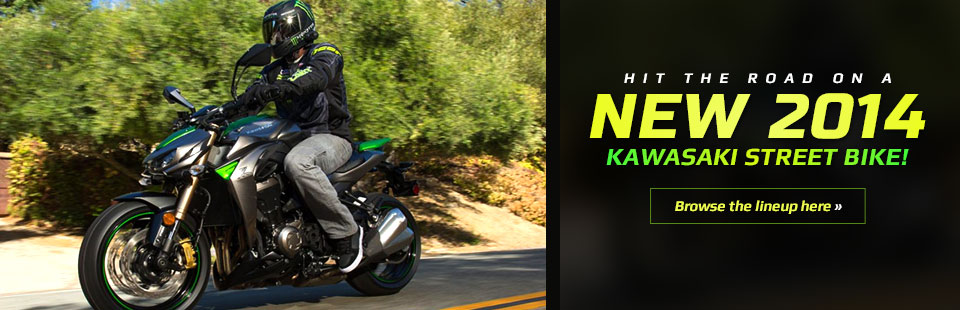 Hit the road on a new 2014 Kawasaki street bike!