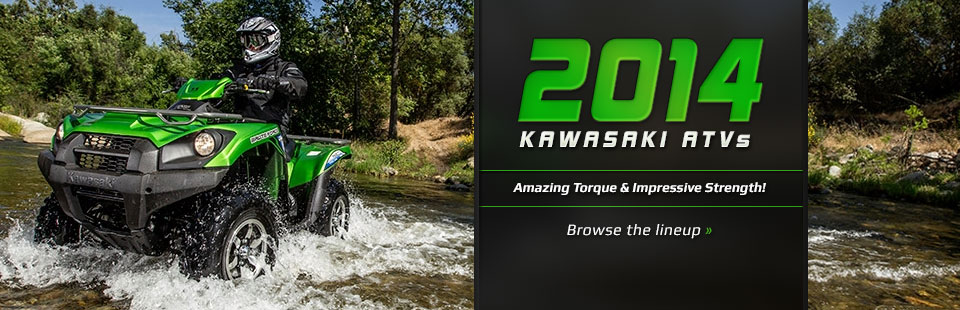 2014 Kawasaki ATVs. In stock. Best prices