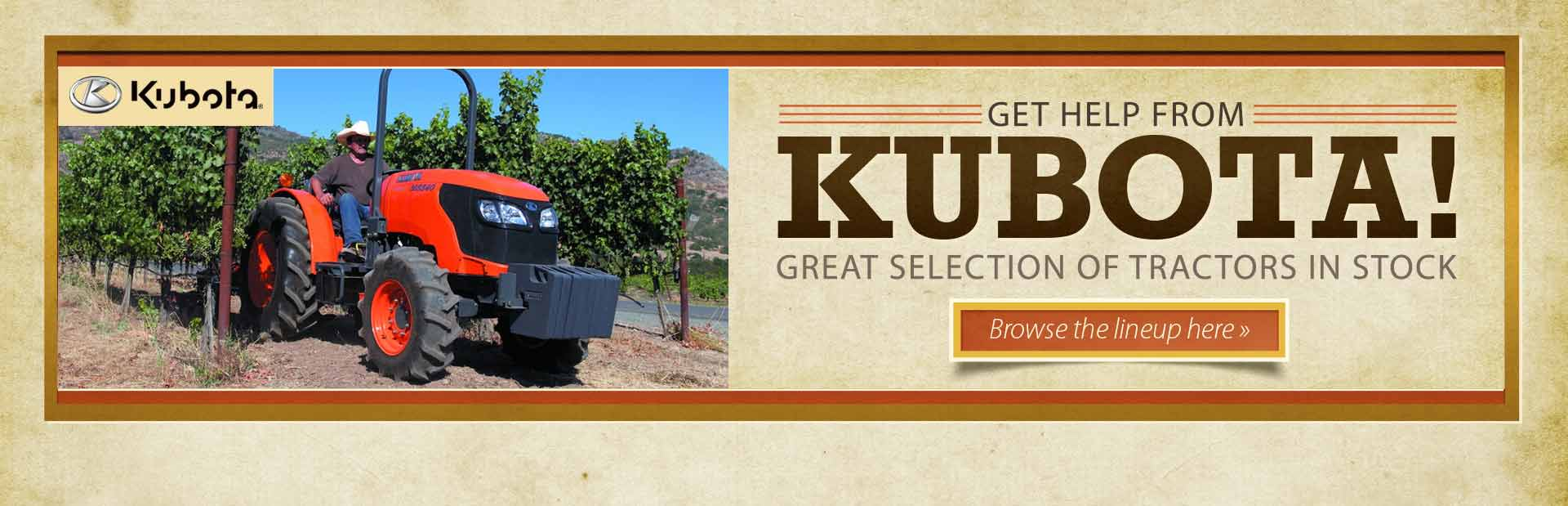 Click here to view Kubota tractors!