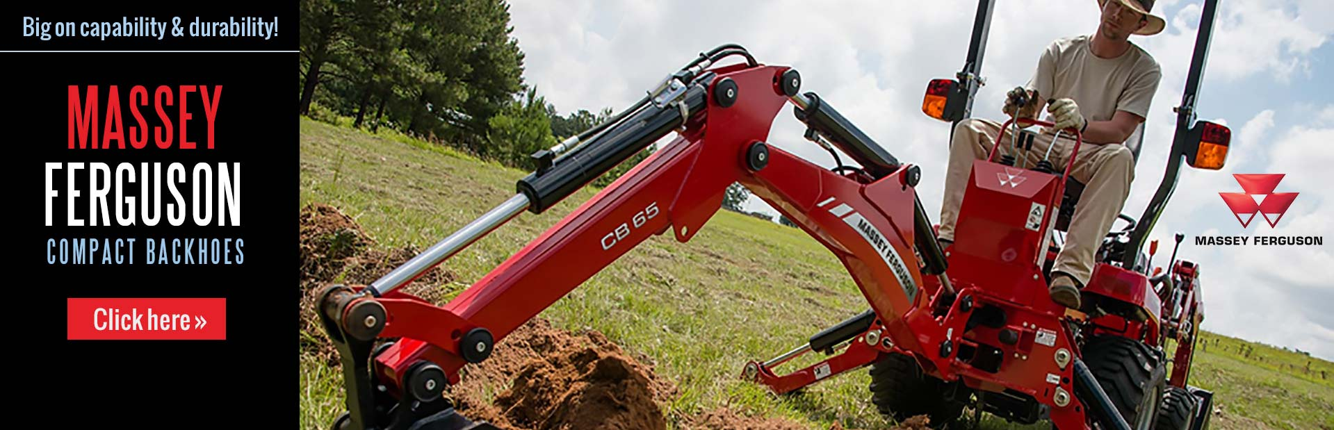 Massey Ferguson compact backhoes are big on capability and durability. Click here to view our select