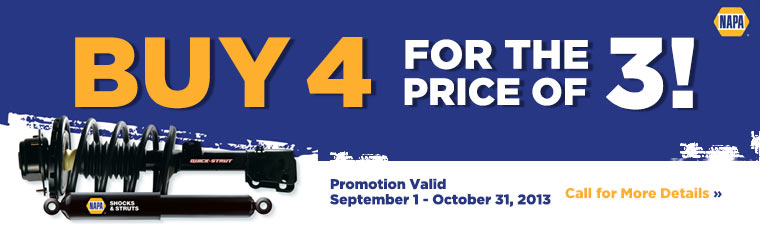 NAPA Shocks and Struts Promotion: Call for details.