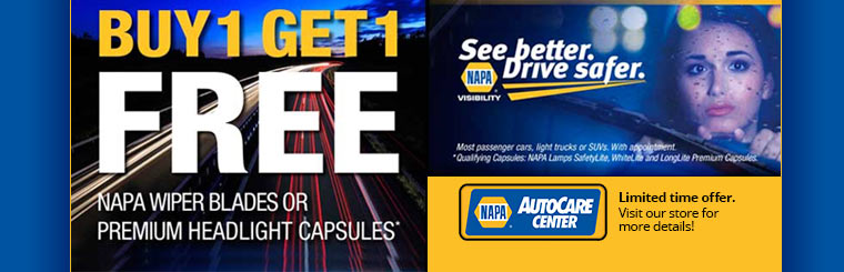 Buy 1, Get 1 Free NAPA Promotion: Click here to contact us for details.