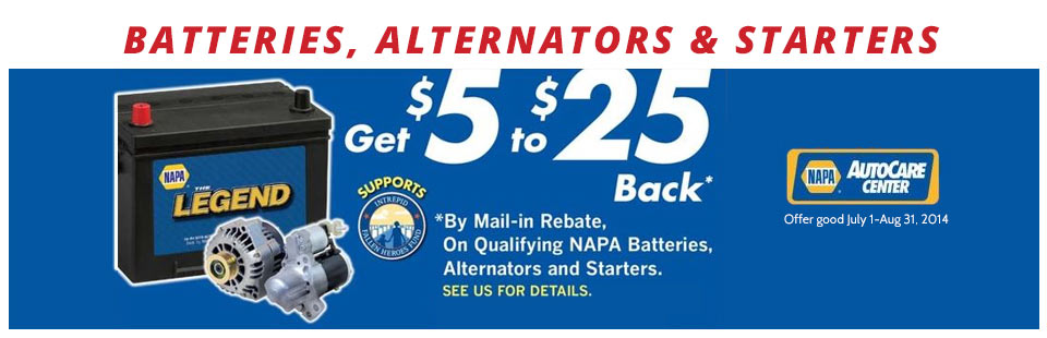 NAPA Battery, Alternator, and Starter Mail-In Rebate: Click here to print the coupon.