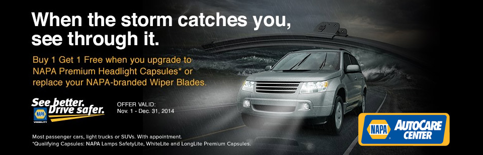 NAPA Premium Headlight Capsule and Wiper Blade Offer: Contact us for details.
