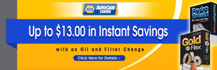 Get up to $13 in instant savings with the purchase of an oil and filter change!