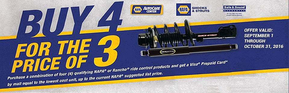NAPA Buy 4 for the Price of 3 Offer: Contact us for details.
