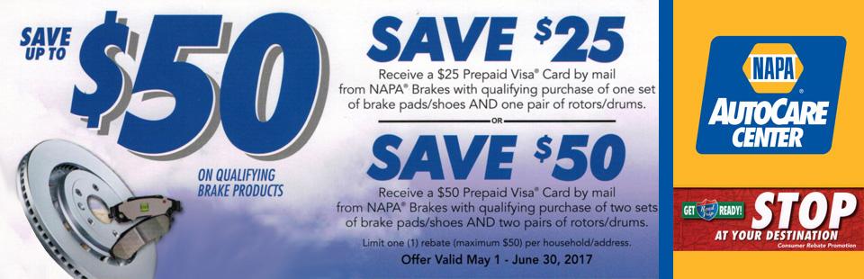 NAPA - Save up to $50 Dollars