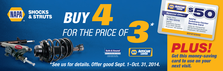 NAPA Shocks & Struts Promo: Contact us for details.
