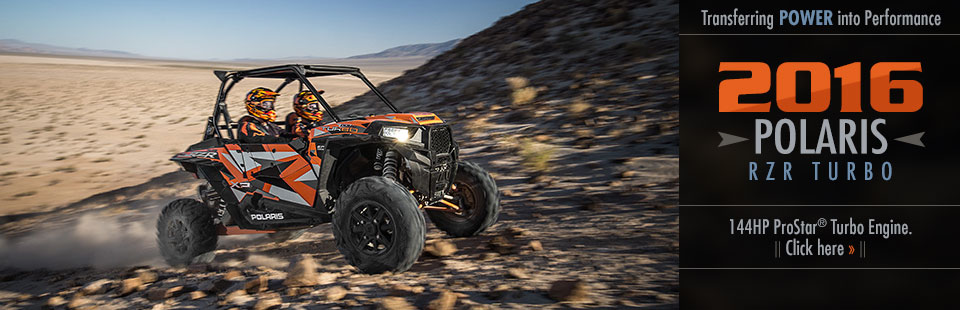 The 2016 Polaris RZR Turbo transfers power into performance with a 144HP ProStar® turbo engine! Clic