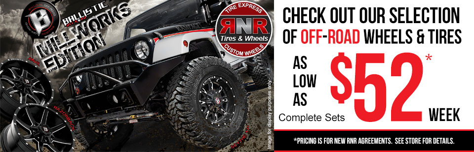 Check out our selection of off-road tires as low as $52 per week!
