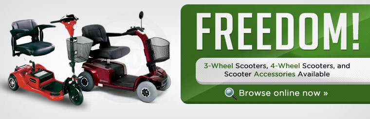 Click here to browse 3-wheel scooters, 4-wheel scooters, and scooter accessories.