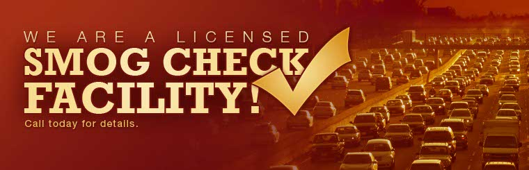 We are a licensed smog check facility! Call today for details.
