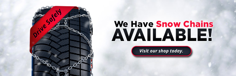 We have snow chains available! Visit our shop today.