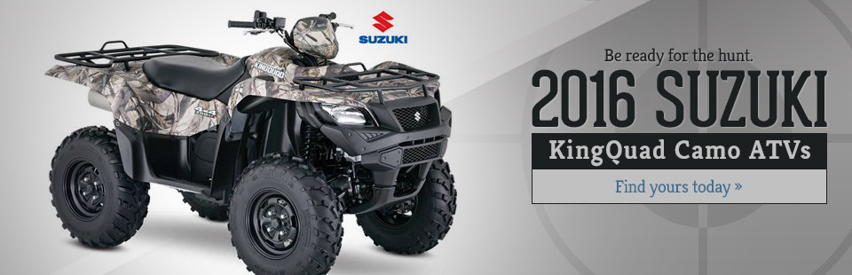 2016 Suzuki KingQuad Camo ATVs: Click here to view the models.