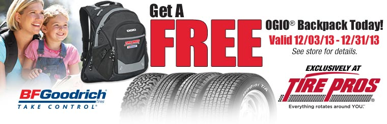 Free Ogio Backpack with BFGoodrich® Tire Purchase: Click here for details.