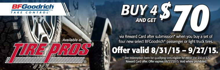 BFGoodrich® Tire Offer: Click here for details.