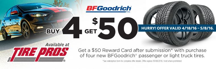 Tire Pros BFGoodrich® Offer: Click here for details.