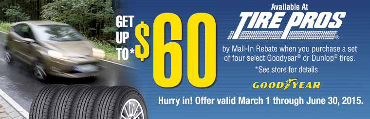 Goodyear $60 Mail-In Rebate: Click here for details.