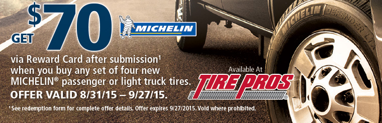 Tire Pros Michelin® Offer: Click here for details.