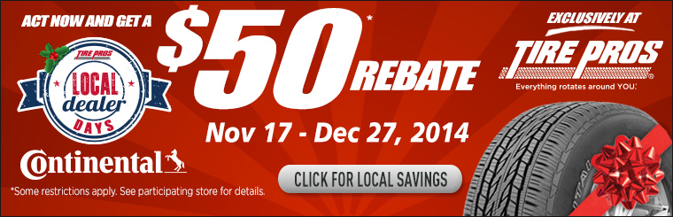 Continental Tires $50 Rebate: Click here for details.