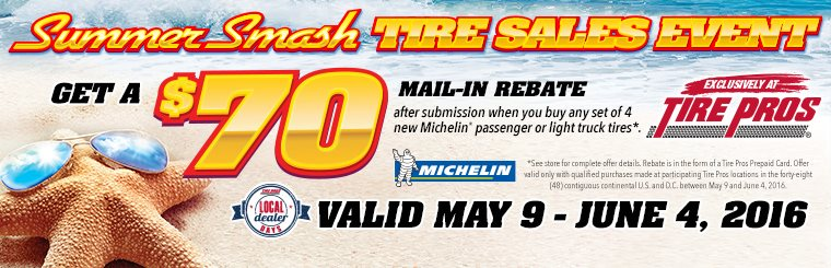 Michelin® Summer Smash Tire Sales Event for Tire Pros: Click here for details.
