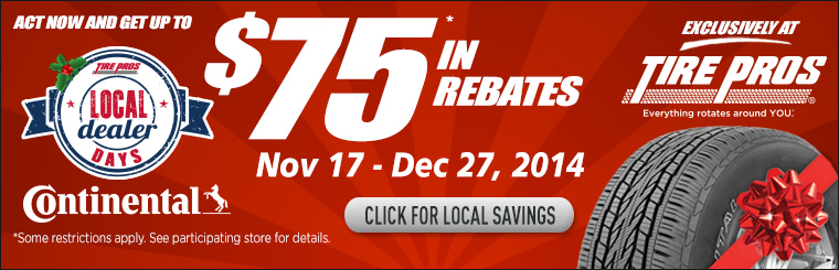 Continental Tires $75 Rebate: Click here for details.