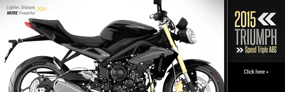 The 2015 Triumph Speed Triple ABS is lighter, sharper, and more powerful. Click here for details.