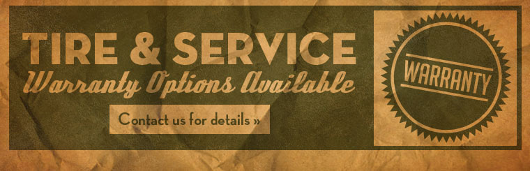 Tire and service warranty options are available! Contact us for details.