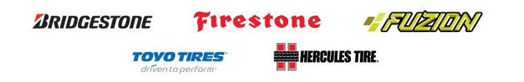 We carry products from Bridgestone, Firestone, Fuzion, Toyo, and Hercules.