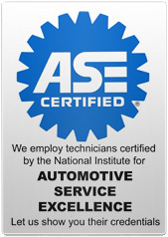 We employ technicians certified by the National Institute for Automotive Service Excellence. Let us show you their credentials.