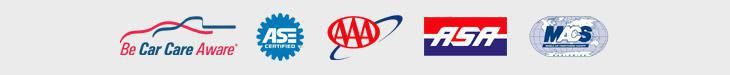 We are affiliated with Car Care Aware, ASE, AAA, the Automotive Service Association, and the Mobile Air Conditioning Society.
