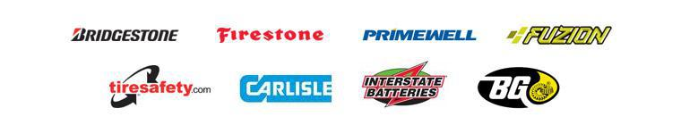 We are proud to feature products from Bridgestone, Firestone, Primewell, Fuzion, Carlisle, Interstate Batteries, and BG. We are affiliated with Tiresafety.com!