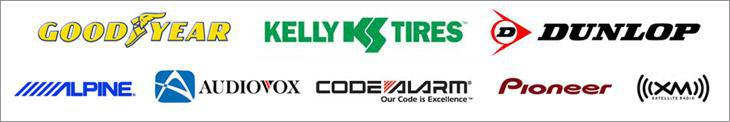 We carry Goodyear, Kelly, Dunlop, Alpine, Audiovox, Code Alarm, Pioneer, and XM Satellite radio.