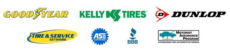 We carry products from Goodyear, Dunlop, Kelly, Tire & Service Network, ASE, BBB, Motorist Assurance Program.